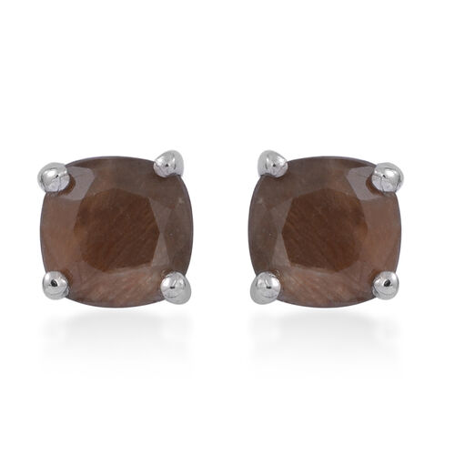 Chocolate Sapphire (Cush) Stud Earrings (with Push Back) in Rhodium Plated Sterling Silver 2.500 Ct.
