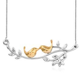 Tweeting Birds Couple on Live Branch Silver Necklace in Platinum and Gold Overlay 18 Inch 5.72 Gms.
