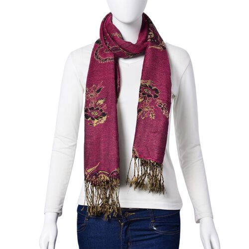 Gold and Multi Colour Floral and Leaves Pattern Pink Colour Scarf with Tassels (Size 170x70 Cm)