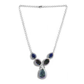 Jewels of India Drusy Agate (Pear) Necklace (Size 18) in Sterling Silver 53.850 Ct.