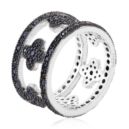 Boi Ploi Black Spinel (Rnd) Band Ring in Rhodium Plated Sterling Silver 3.250 Ct.