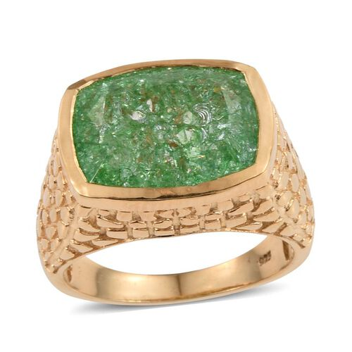 Emerald Green Crackled Quartz (Cush) Ring in 14K Gold Overlay Sterling Silver 10.250 Ct.