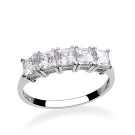 J Francis - Platinum Overlay Sterling Silver (Sqr) 5 Stone Ring Made with SWAROVSKI ZIRCONIA 1.950 Ct.