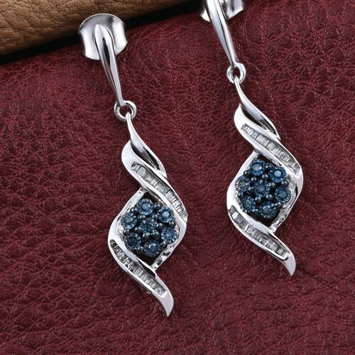Blue Diamond, White Diamond 0.25 Carat Lever Back Earrings in Platinum Overlay Sterling Silvert.