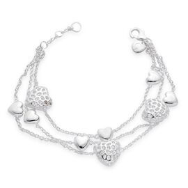 RACHEL GALLEY Rhodium Plated Sterling Silver Amore Heart Bracelet (Size 7 to 8), Silver wt 18.00 Gms.
