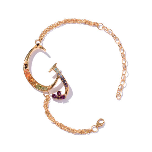 Rhodolite Garnet (Ovl), Citrine, Paraiba Apatite, Jalisco Fire Opal, Hebei Peridot and Multi Gemstone Initial G Bracelet (Size 9 with Extender) in 14K Gold Overlay Sterling Silver 1.468 Ct.
