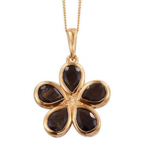 Natural Zawadi Golden Sheen Sapphire (Pear) Floral Pendant With Chain in 14K Gold Overlay Sterling Silver 4.750 Ct.