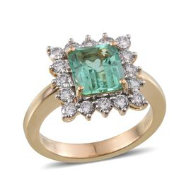 ILIANA 18K Y Gold Boyaca Colombian Emerald (Oct 2.20 Ct), Diamond Ring 3.050 Ct.