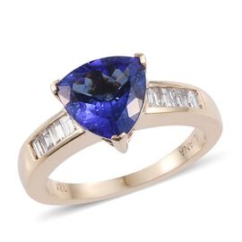 ILIANA 18K Y Gold AAA Tanzanite (Trl 2.50 Ct), Diamond Ring 2.750 Ct.