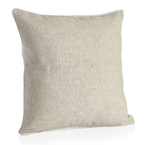 Tiles Design Champagne Colour Cushion (Size 43x43 Cm)
