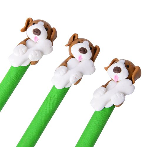 Set of Ten Dog Theme Green Colour Pens (Black Ink) and One Garden Theme Pen Holder (Size 7X6 Cm)