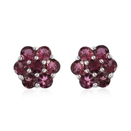 9K W Gold AA Pink Tourmaline (Rnd) Floral Stud Earrings (with Push Back) 1.500 Ct.