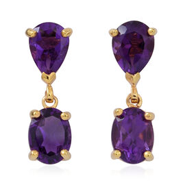 Amethyst (Ovl) Earrings (with Push Back) in 14K Gold Overlay Sterling Silver 4.000 Ct.