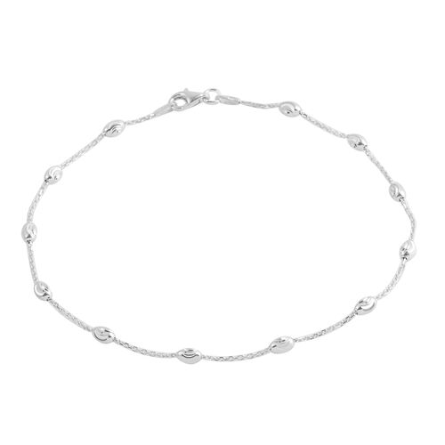 Close Out Deal Rhodium Plated Sterling Sterling Silver Station Beads Anklet (Size 10)
