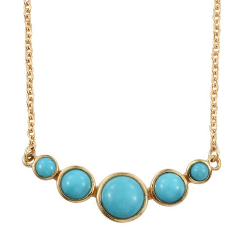 Arizona Sleeping Beauty Turquoise (Rnd 1.20 Ct) 5 Stone Necklace (Size 18) in 14K Gold Overlay Sterling Silver 2.250 Ct.