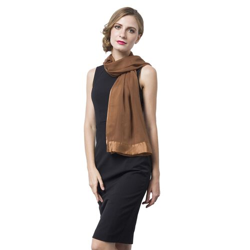 100% Mulberry Silk Chocolate Colour Scarf with Satin Border (Size 160X60 Cm)
