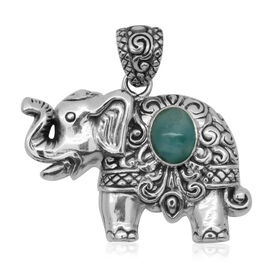 Royal Bali Collection Larimar (Ovl) Elephant Pendant in Sterling Silver. 13.0 Grams Of Sterling Silver