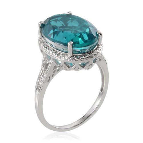 Capri Blue Quartz (Ovl 10.75 Ct), Diamond Ring in Platinum Overlay Sterling Silver 10.800 Ct.