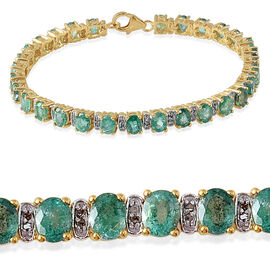 Kagem Zambian Emerald (Ovl), Diamond Bracelet in 14K Gold Overlay Sterling Silver (Size 7.5) 10.150 Ct.