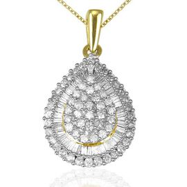 9K Yellow Gold SGL Certified Diamond (Rnd) (I3/G-H) Drop Pendant With Chain 1.000 Ct.