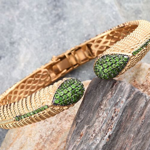 Designer Inspired Russian Diopside (Rnd) Open Bangle (Size 7.5) in 14K Gold Overlay Sterling Silver Weight 44 Grams.