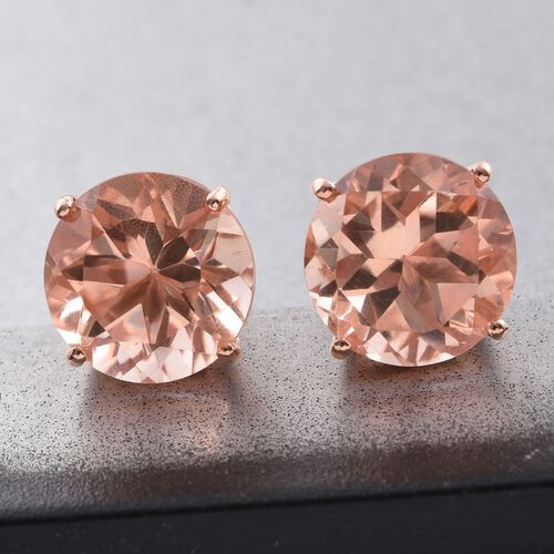 Galileia Blush Pink Quartz (Rnd) Stud Earrings (with Push Back) in Rose Gold Overlay Sterling Silver 14.000 Ct.