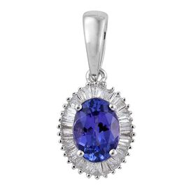 ILIANA 18K White Gold 1 Carat AAA Tanzanite Halo Pendant With Diamond SI G-H
