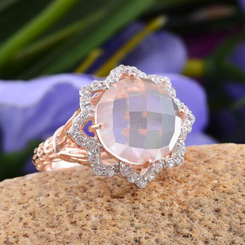 Stefy Checkerboard Cut Rose Quartz (Rnd 6.15 Ct), Natural Cambodian Zircon and Pink Sapphire Ring in Rose Gold Overlay Sterling Silver 7.000 Ct.