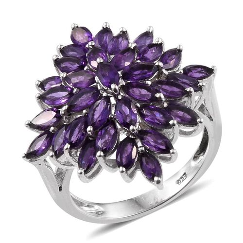 AA Lusaka Amethyst (Mrq) Cluster Ring in Platinum Overlay Sterling Silver 4.500 Ct.