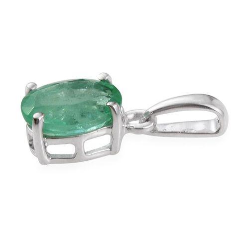 14K W Gold Boyaca Colombian Emerald (Ovl) Solitaire Pendant 1.000 Ct.