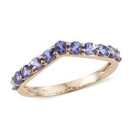 9K Yellow Gold 1 Carat Tanzanite Wishbone Ring.