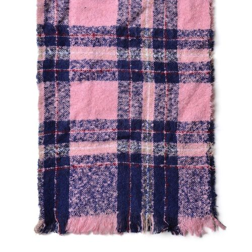 Navy and Pink Colour Checks Pattern Scarf with Fringes (Size 90X66 Cm)