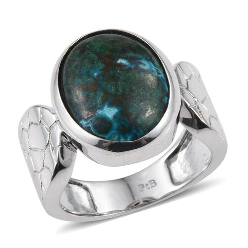 Chrysocolla (Ovl) Solitaire Ring in ION Plated Platinum Bond 8.000  Ct.