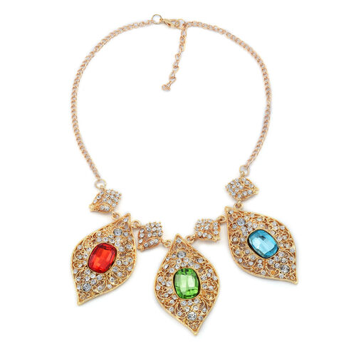 Multi Colour Glass and White Austrian Crystal Necklace (Size 18) in Gold Tone