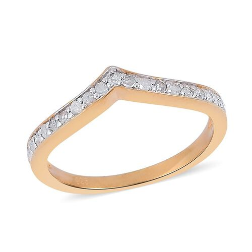 Diamond (Rnd) Wishbone Ring in Yellow Gold Overlay Sterling Silver 0.250 Ct.