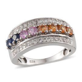 Kanchanaburi Blue Sapphire (Rnd), Orange Sapphire, Yellow Sapphire, Pink Sapphire and White Topaz Ring in Platinum Overlay Sterling Silver 1.750 Ct.