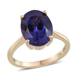 ILIANA 18K Y Gold AAA Tanzanite (Ovl) Solitaire Ring 5.500 Ct.