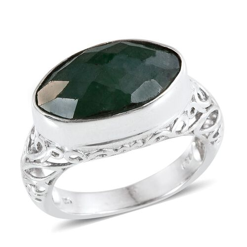 Emerald (Colour Enhanced) Solitaire Ring in Sterling Silver 6.010 Ct.