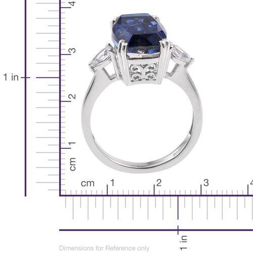 Ceylon Colour Quartz (Cush 8.50 Ct), White Topaz Ring in Platinum Overlay Sterling Silver 9.250 Ct.