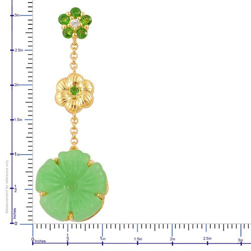 Green Jade, Russian Diopside and White Topaz Floral Dangling Earrings (with Push Back) in Yellow Gold Overlay Sterling Silver 23.245 Ct.