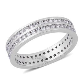 RHAPSODY 950 Platinum 1 Carat Diamond 2 Row Full Eternity Band Ring IGI Certified VS E-F.
