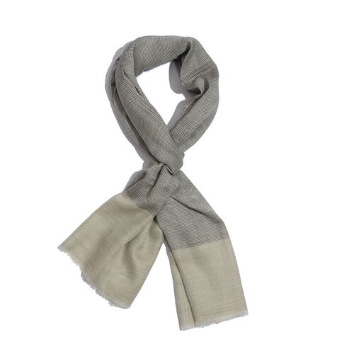 100% Cashmere Wool Beige and Black Colour Shawl (Size 200x70 Cm)