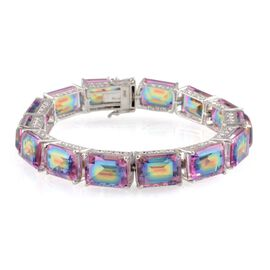 Rainbow Genesis Quartz (Oct) Bracelet in Platinum Overlay Sterling Silver (Size 8) 100.000 Ct.