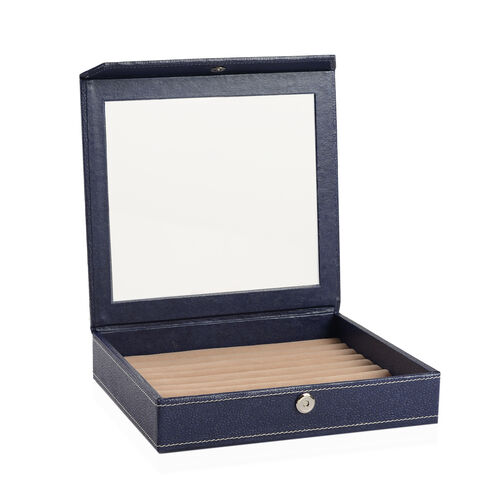 Hand Crafted - Eco Faux Leather Navy Colour 100 Slot Ring Box with Magnetic Closure (Size 24x22 Cm)