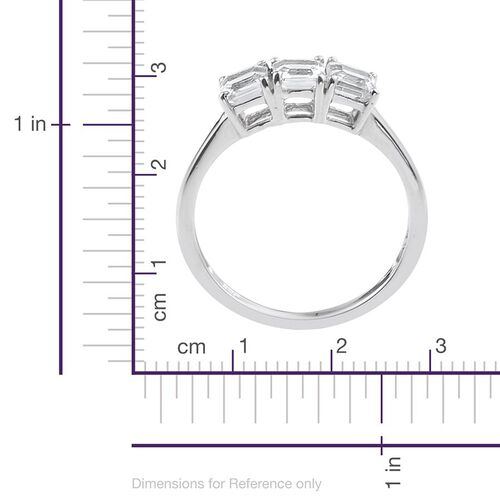 White Topaz (Oct) Trilogy Ring in Platinum Overlay Sterling Silver 1.250 Ct.