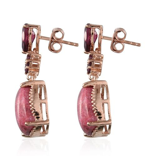 Norwegian Thulite (Cush), Rhodolite Garnet Earrings in Rose Gold Overlay Sterling Silver 14.250 Ct.