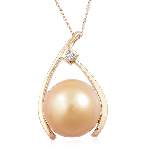 14K Y Gold South Sea Golden Pearl (Rnd 13.5-14mm), Diamond Pendant with Chain