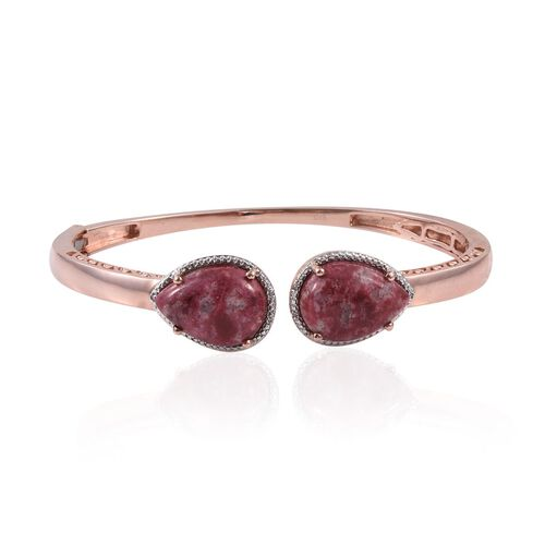 Norwegian Thulite (Pear), Diamond Bangle (Size 7.5) in ION Plated 18K Rose Gold Bond 25.030 Ct.