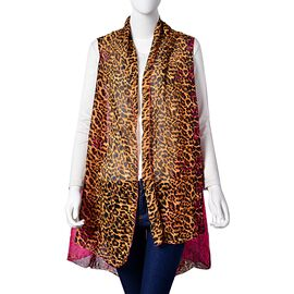 Summer Collection-Leopard Printed Fuchsia Colour Poncho (Free Size)