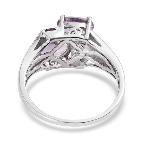 Rose De France Amethyst (Ovl), Amethyst Ring in Platinum Overlay Sterling Silver 2.400 Ct.